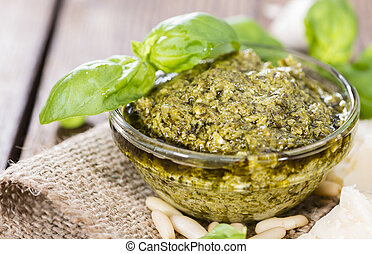 Pesto Sauce - Portion of homemade Pesto Sauce with...