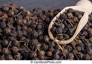 Black Peppercorn Cubeb Isolated on white background