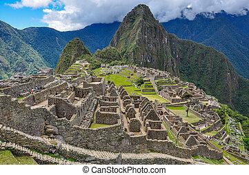 View over Machu Picchu Inca ruins, Peru.