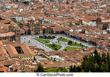 View over Plaza de Armas in Cusco, Peru.