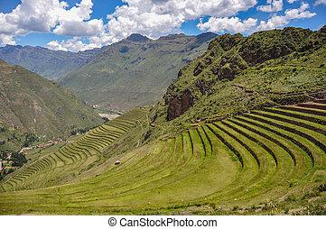 Pisac Incas ruins, Sacred Valley, Peru.