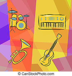 Musical instruments background with drums, trumpet, acoustic...