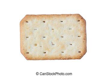 Saltine soda cracker isolated on white background