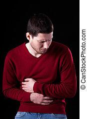 jovem, homem, tendo, estômago, dor