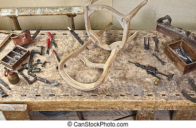 carpenter tools - image of classic vintage old carpenter...