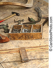 wood and old tool - image of classic vintage old carpenter...