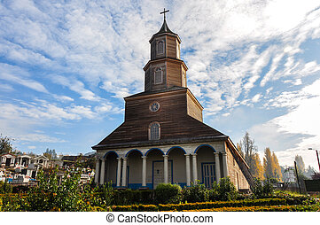 Gorgeous Colored and Wooden Churches, Chiloeacute; Island,...
