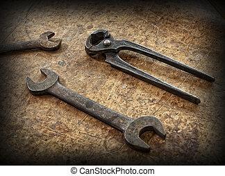 vendimia, carpintero, herramientas