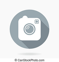 Camera Vector Icon With Flat Design - Camera vector icon...