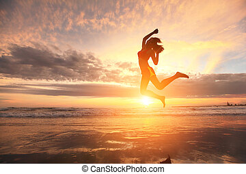 Happy jump sport woman - Happy jump sport young woman...