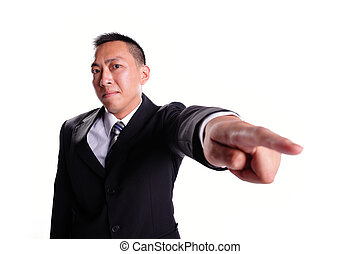 Business man serious pointing