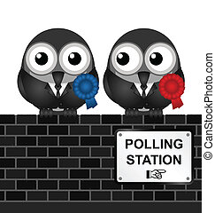 Polling Station - Monochrome comical polling station sign on...