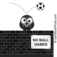 No Ball Games - Monochrome comical no ball games sign on...