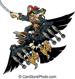 Pirate Riding Robot Crow or Raven - Vector Cartoon...