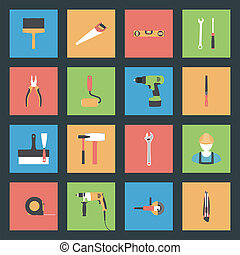 Building flat icons set vector graphic illustration