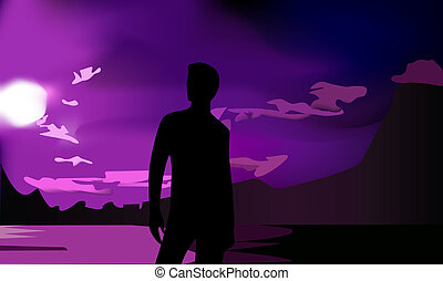 man's silhouette and sunset - vector - man's silhouette and...