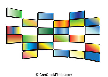 color tv screens - vector illustration of color tv screens