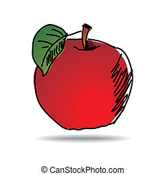 Freehand apple - Freehand drawing apple icon - vector eps 10...