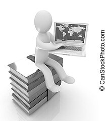 3d man sitting on books and working at his laptop on a white...