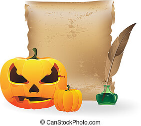 Jack o Lantern, papyrus and feather - Pumpkin head, sheet of...
