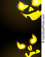 Night monsters Jack O Lanterns - Two pumpkin monster with...