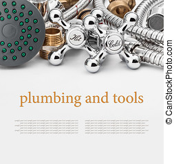 plumbing and tools on a gray background Empty white space...