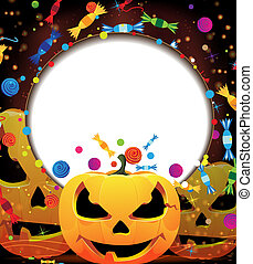 Smiling jack o lanterns. Halloween background. - Three...