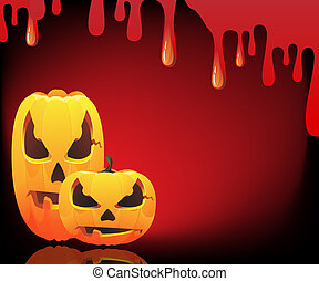 Jack o Lanterns - Two evil pumpkin monsters on a bloody...