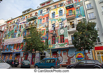 Frierichshain houses in est Berlin, Germany - Frierichshain...