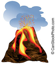 volcano erupting fuming volcano with fiery lava and big...