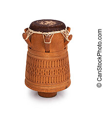 Djembe, Surinam percussion, handmade wooden drum with goat...