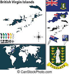 Map of British Virgin Islands - Vector map of British Virgin...
