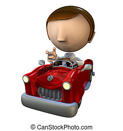3d business man character in a red car - 3d business man...