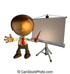 3d business man character with presentation equipment - 3d...