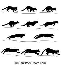Set of running black cat silhouettes - Set of several...