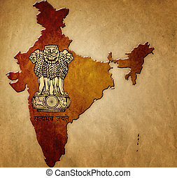 Map of India with coat of arms