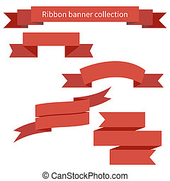 Collection of red retro ribbons banners