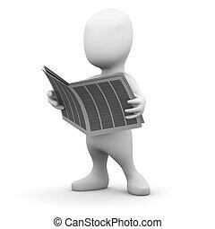 3d Little man reads the newspaper - 3d render of a little...