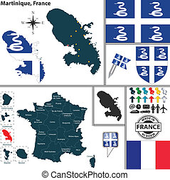 Map of Martinique, France - Vector map of state Martinique...