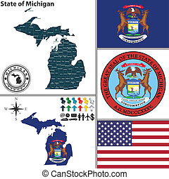 Map of state Michigan, USA - Vector set of Michigan state...