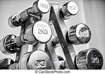 A rack with metal dumbbells