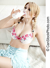 blonde drinking milk - Young adult sensuality blonde girl in...