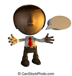 3d business man character with speech bubble or caption