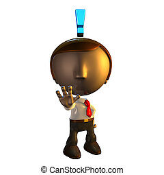 3d business man character with exclamation mark holding his...