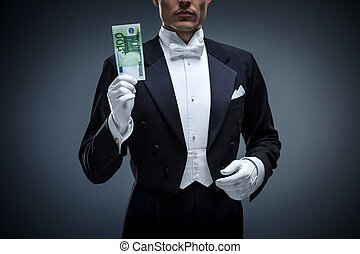 Banking - Young man in a tuxedo with euro