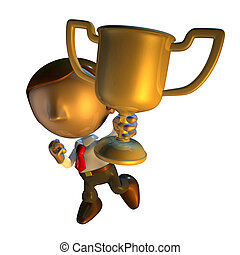 3d business man character holding a trophy - 3d render...