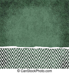 Square Green and White Zigzag Chevron Torn Grunge Textured...