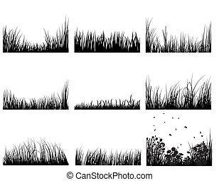 grass set - Set of vector grass silhouettes backgrounds for...