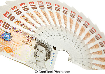 Several ten pounds notes on white