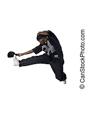 Tricky move - Hiphop dancer making fancy movement. Person...